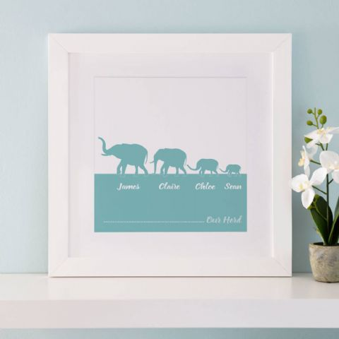 Personalised Herd Of Elephants Family Print